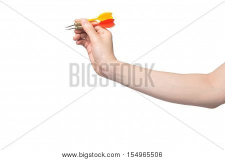 hand hold red and yellow arrow on isolated white background. concept of business target.