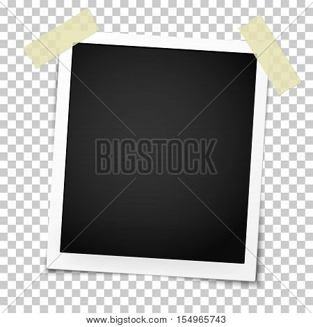 Realistic vector photo frame on sticky tape on transparent background. Template photo design.