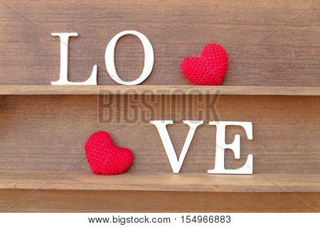"""Words """" Love """" And Heart Shaped Fabric"""