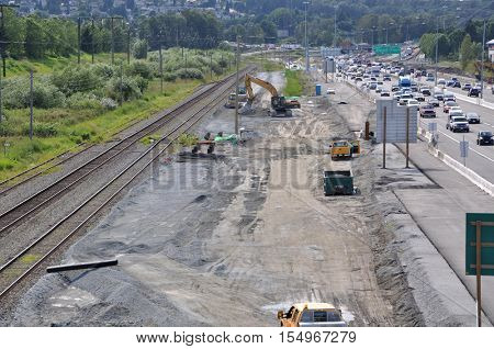 Coquitlam BC Canada - July 04, 2012 : Number one highway traffic flow and construction site