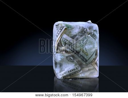 Money Frozen in a Block of Ice