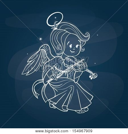 Nicely and happy smiling cute baby Christmas angel making music playing violin. Cartoon style. Chalk on chalkboard