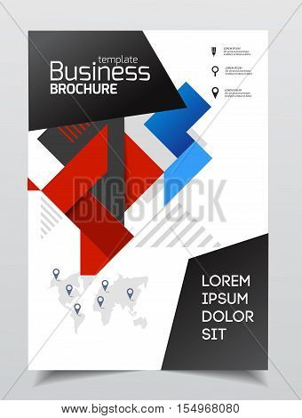 Business Presentation With Photo And Geometric Graphic Elements. Catalogue Template For Company. A4