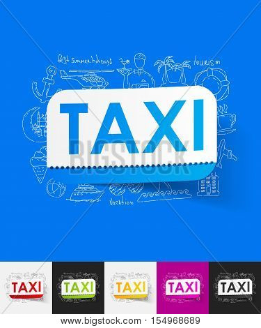 hand drawn simple elements with taxi paper sticker shadow