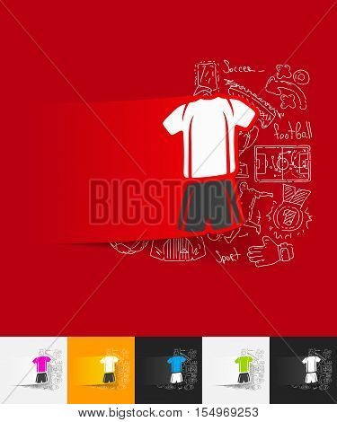 hand drawn simple elements with football clothing paper sticker shadow
