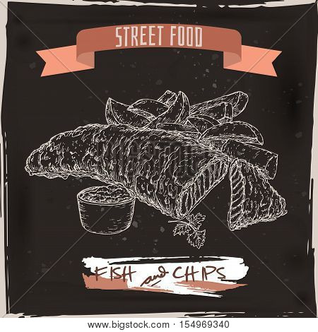 Fish and chips sketch on black grunge background. British cuisine. Street food series. Great for market, restaurant, cafe, food label design.