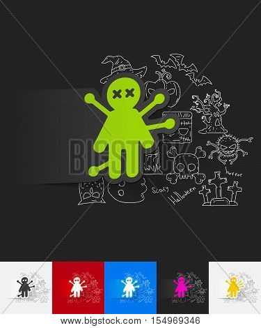 hand drawn simple elements with voodoo Doll paper sticker shadow