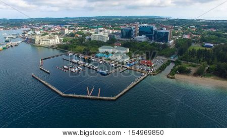 Labuan,Malaysia-Sep 7,2016 :Aerial view of the Labuan island with Labuan Financial Park & Billion Waterfront Hotel.Labuan is an international financial centre & Malaysia only deep water anchorage.