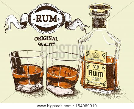 Two stemware of rum with bootle .Vector illustration