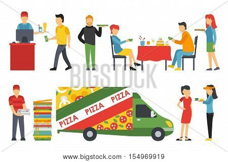 People in a Pizzeria interior flat icons set. Pizza concept web vector illustration. Cashier, Deliveryman, Customers, Bistro, Waiters, Delivery, Car
