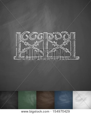 barbed wire icon. Hand drawn vector illustration. Chalkboard Design