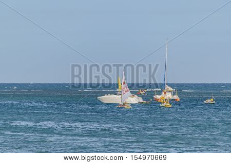 PORTO GALINHAS, BRAZIL, JANUARY - 2016 - Group of boats at sea in Porto Galinhas Pernambuco Brazil