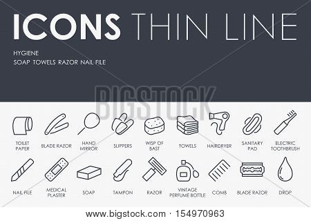 Thin Stroke Line Icons of Hygiene on White Background