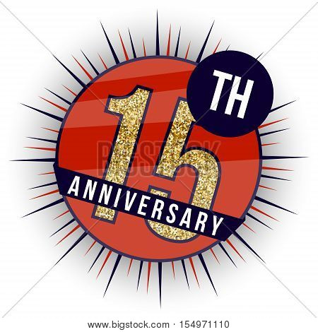 Fifteen years anniversary banner. 15th anniversary logo.