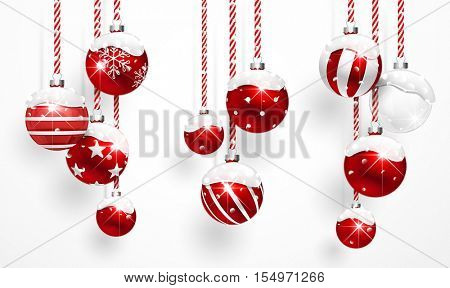 Red Christmas Balls with Snow on white background. Vector illustration