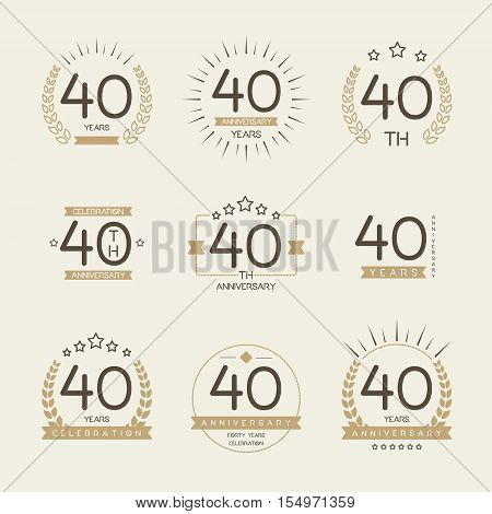 Forty years anniversary celebration logotype. 40th anniversary logo collection.