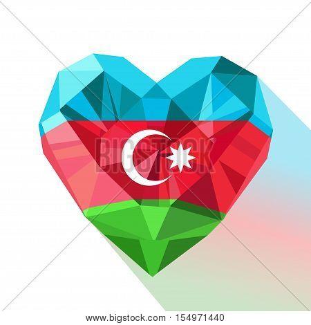 Vector crystal gem jewelry Azerbaijan's heart with the flag of  the Republic of Azerbaijan. Flat style logo symbol of love Azerbaijan. Flag Day November 9. Republic Day