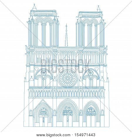 Notre Dame de Paris Cathedral, France. Vector linear outline isolated illustration. Blue contour drawing of Notre Dame.