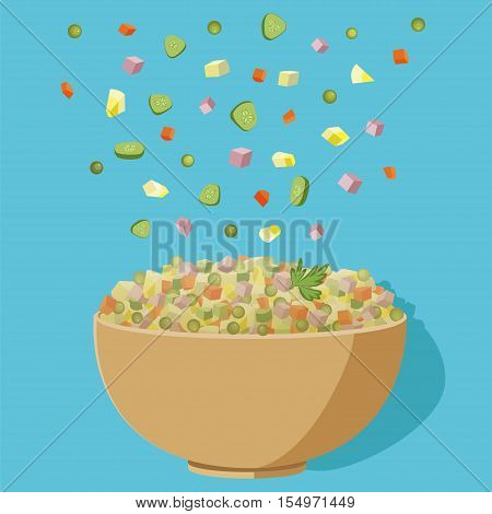Vector flat illustration of Russian salad. Image of russian traditional new year's dish Olivier salad. Potato salad vector illustration.Vector Illustration of bowl and salad ingredients for Olivier's recipe.