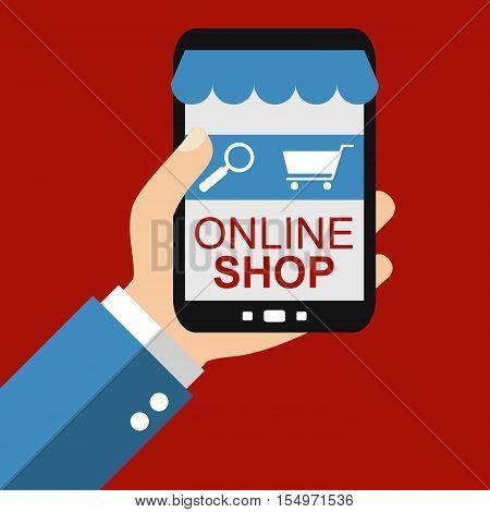 Hand holding Smartphone: Online Shop - Flat Design
