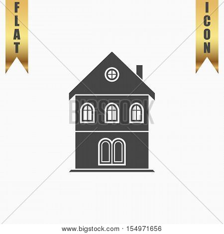 Simple old house. Flat Icon. Vector illustration grey symbol on white background with gold ribbon