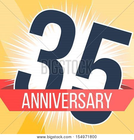 Thirty five years anniversary banner. 35th anniversary logo. Vector illustration.