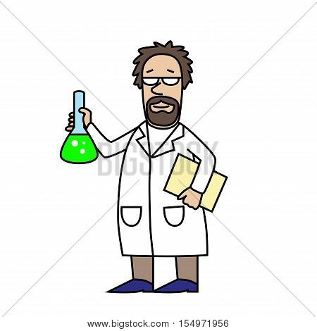 Scientist at Work. Scientist with flask. Cartoon character.  Old man. Vector modern illustration.