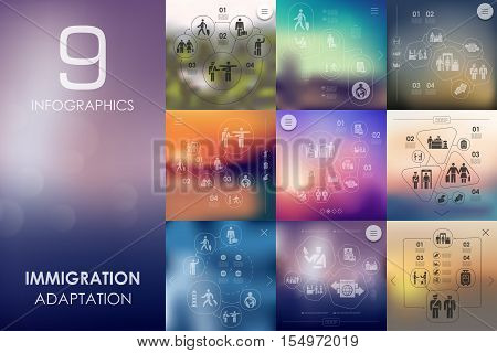 immigration vector infographics with unfocused blurred background