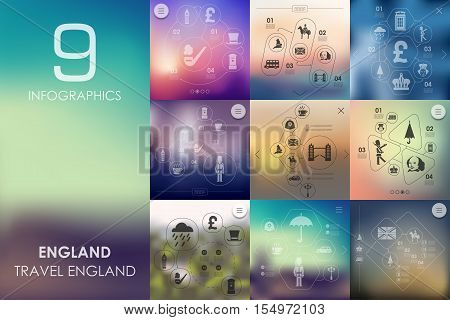 England vector infographics with unfocused blurred background
