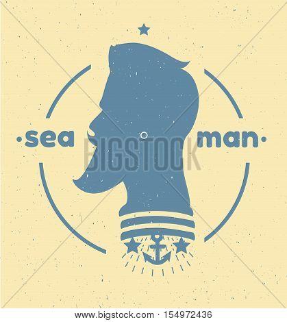 Silhouette of a sailor 's head. Black and white sailor 's head logo