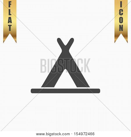 Wigwam. Flat Icon. Vector illustration grey symbol on white background with gold ribbon