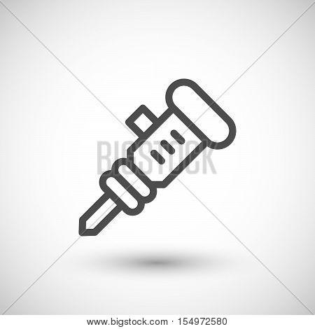 Jackhammer line icon isolated on grey. Vector illustration