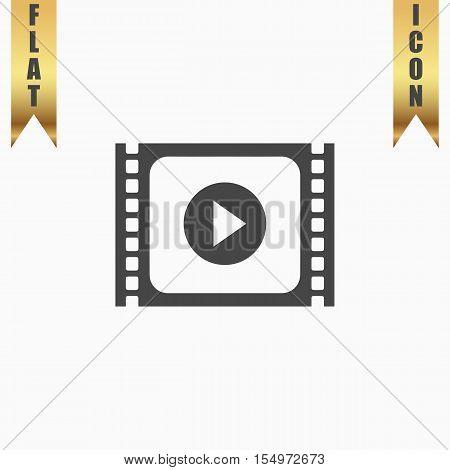 Simple Media player. Flat Icon. Vector illustration grey symbol on white background with gold ribbon