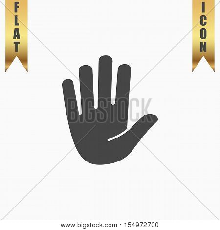 Stop - hand. Flat Icon. Vector illustration grey symbol on white background with gold ribbon