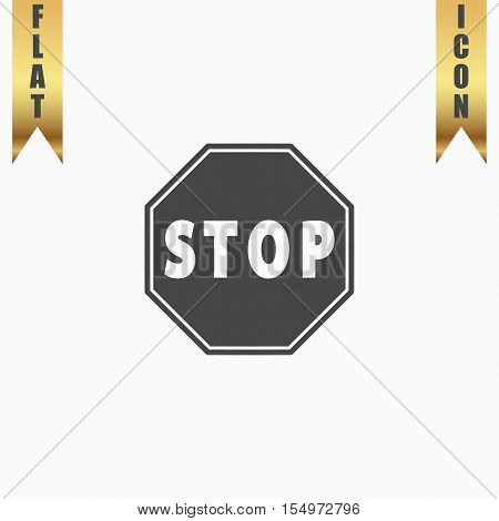 Stop. Flat Icon. Vector illustration grey symbol on white background with gold ribbon