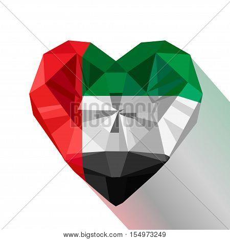 Vector crystal gem jewelry Emirati heart with the flag of The United Arab Emirates.Flat style logo symbol of love Emirates. UAE. National Day December 2. Flag of Emirates.