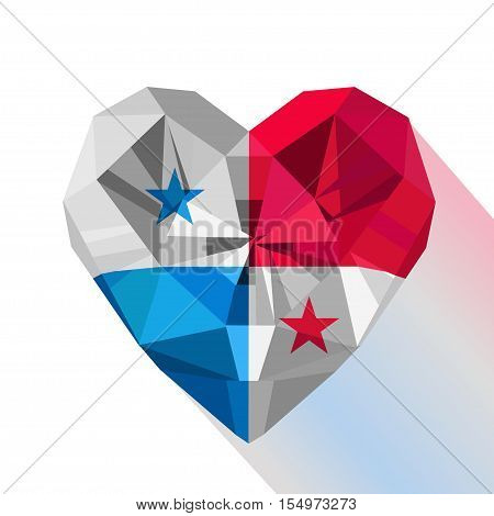 Vector crystal gem jewelry Panamanian heart with the flag of the Republic of Panama. Flat style logo symbol of love Panama.November 4. Flag Day of Panama illustration. Panama flat logo. Panama Symbol.