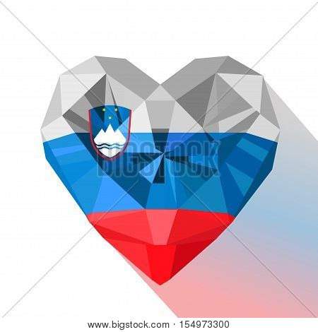 Vector crystal gem jewelry Slovenian heart with the flag of the Republic of Slovenia. Flat style logo symbol of love Slovenia.Europe.Sovereignty Day 25 October.Statehood Day 25 June. Flag of Slovenia.