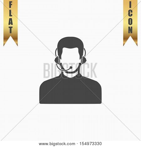 Call center operator with headset. Flat Icon. Vector illustration grey symbol on white background with gold ribbon