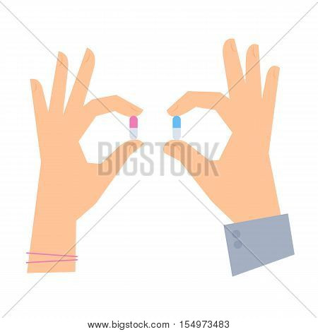 Male hand and female hand are holding color pills. Medicine and healthcare flat concept illustration. Human hands hold a cure in capsule. Vector elements for medical infographic for web presentation.