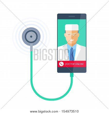 Smart phone with stethoscope and doctor online on the screen. Telemedicine and telehealth flat concept illustration of smartphone medic and phonendoscope. Vector element for tele medical infographic.
