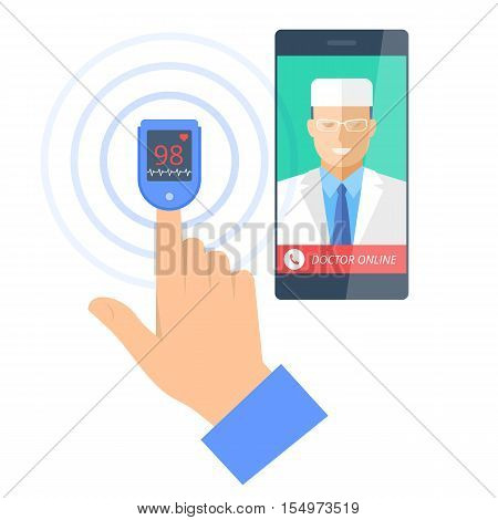 Smart phone with male doctor online on the screen and pulsometer on a finger. Telemedicine flat concept illustration of smartphone medic and hand with cardiosensor. Vector design infographic element.