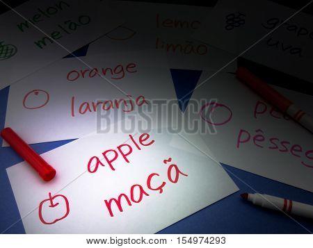 Making Language Flash Cards; Portuguese