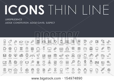 Thin Stroke Line Icons of jurisprudence on White Background