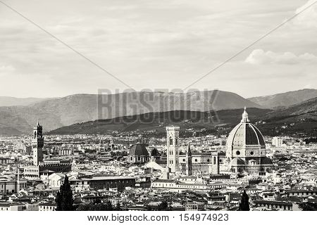 Florence is the capital city of the Italian region of Tuscany and of the province of Florence. Beautiful historic urban landscape. Black and white photo.