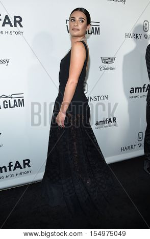 LOS ANGELES - OCT 27:  Lea Michele arrives to the amFAR's Inspiration Gala on October 27, 2016 in Hollywood, CA