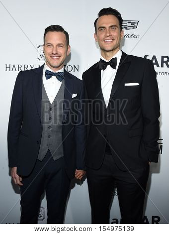 LOS ANGELES - OCT 27:  Cheyenne Jackson and Jason Landau arrives to the amFAR's Inspiration Gala on October 27, 2016 in Hollywood, CA