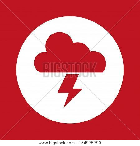 Cloud and thunder icon. Weather sky nature and climate theme. Red design. Vector illustration