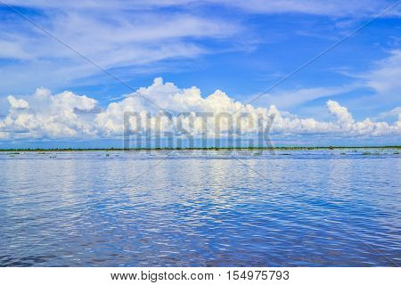 Sea, sky days that live in the Tonle Sap lake in Cambodia.