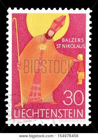 LIECHTENSTEIN - CIRCA 1967 : Cancelled postage stamp printed by Liechtenstein, that shows Saint Nikolaus.